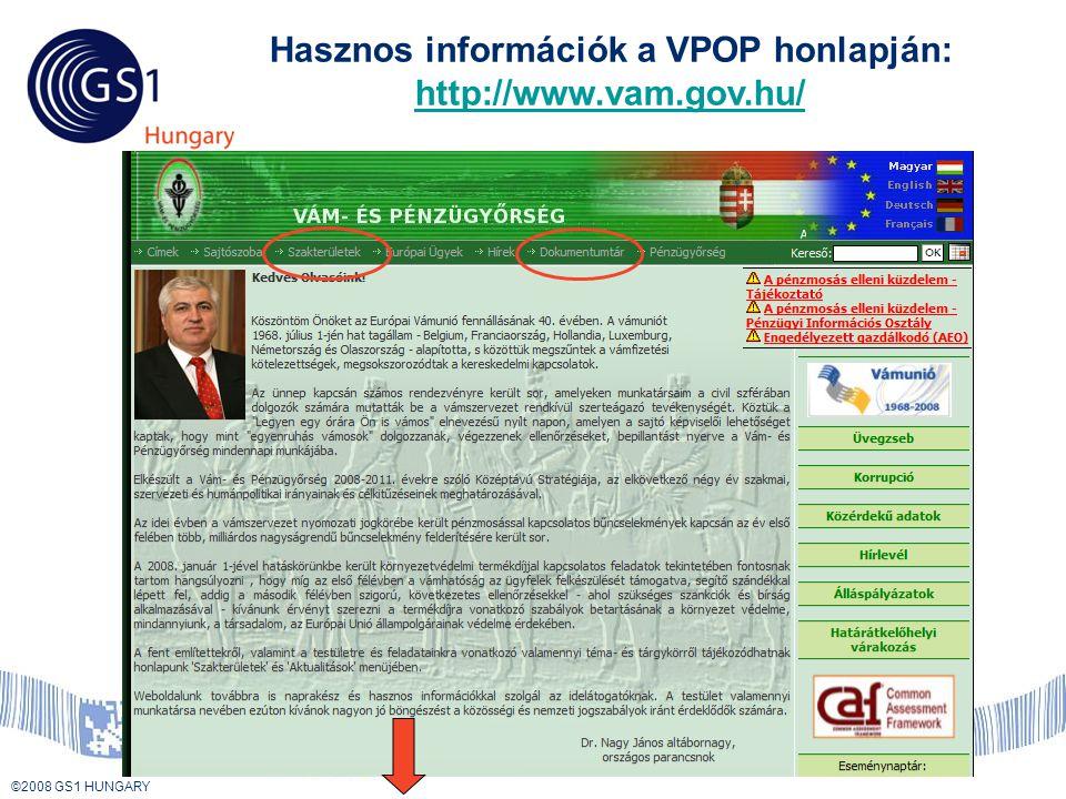 © 2008 GS1 US ©2008 GS1 HUNGARY Hasznos információk a VPOP honlapján: http://www.vam.gov.hu/