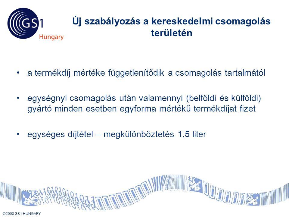 © 2008 GS1 US ©2008 GS1 HUNGARY Új szabályozás a kereskedelmi csomagolás területén •a termékdíj mértéke függetlenítődik a csomagolás tartalmától •egységnyi csomagolás után valamennyi (belföldi és külföldi) gyártó minden esetben egyforma mértékű termékdíjat fizet •egységes díjtétel – megkülönböztetés 1,5 liter