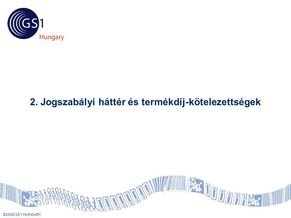 © 2008 GS1 US ©2008 GS1 HUNGARY Adatszolgáltatások és címzettjeik 2008-ban APEH VPOP KvVM OKTVF OKTVf MENTESSÉGI KÉRELEM VISSZA- IGÉNYLÉS HULLADÉK- HASZNOSÍTÓI SZOLG.