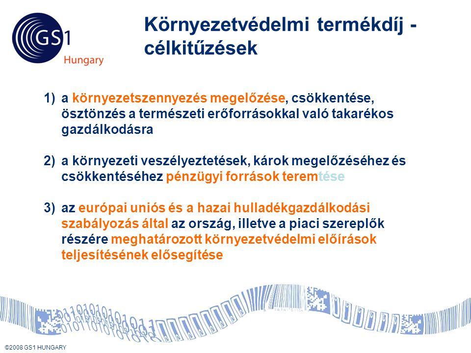 © 2008 GS1 US ©2008 GS1 HUNGARY Környezetvédelmi termékdíj - célkitűzések 1)a környezetszennyezés megelőzése, csökkentése, ösztönzés a természeti erőforrásokkal való takarékos gazdálkodásra 2)a környezeti veszélyeztetések, károk megelőzéséhez és csökkentéséhez pénzügyi források teremtése 3)az európai uniós és a hazai hulladékgazdálkodási szabályozás által az ország, illetve a piaci szereplők részére meghatározott környezetvédelmi előírások teljesítésének elősegítése