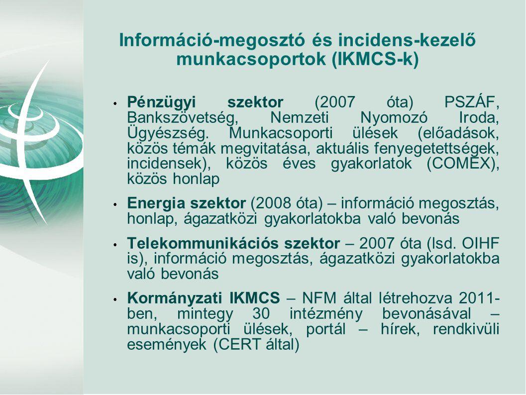 Információ-megosztó és incidens-kezelő munkacsoportok (IKMCS-k) • Pénzügyi szektor (2007 óta) PSZÁF, Bankszövetség, Nemzeti Nyomozó Iroda, Ügyészség.