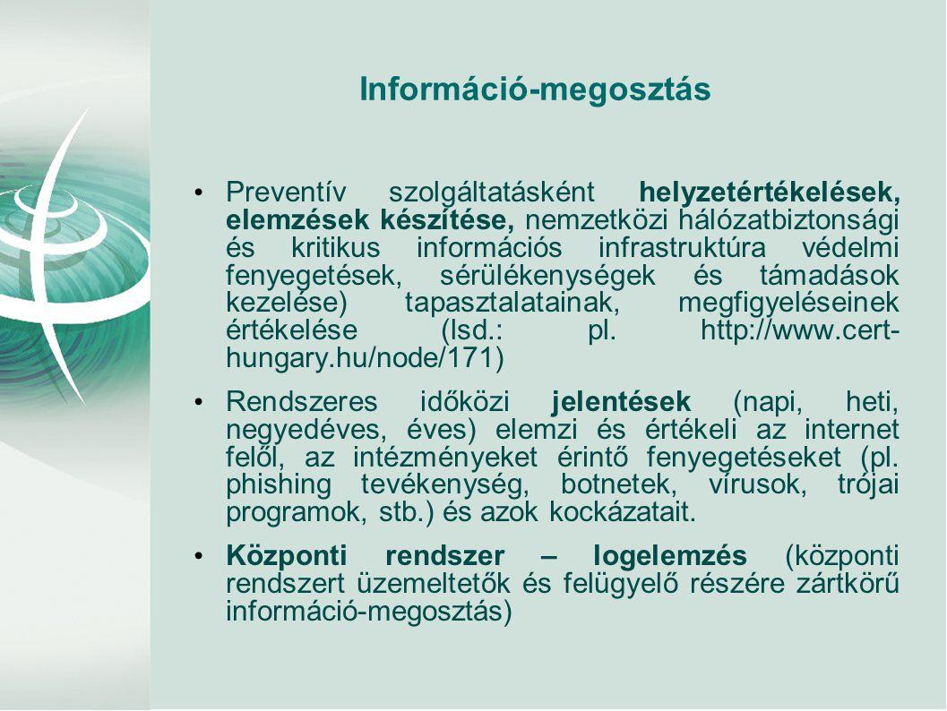 Információ-megosztás • Preventív szolgáltatásként helyzetértékelések, elemzések készítése, nemzetközi hálózatbiztonsági és kritikus információs infrastruktúra védelmi fenyegetések, sérülékenységek és támadások kezelése) tapasztalatainak, megfigyeléseinek értékelése (lsd.: pl.