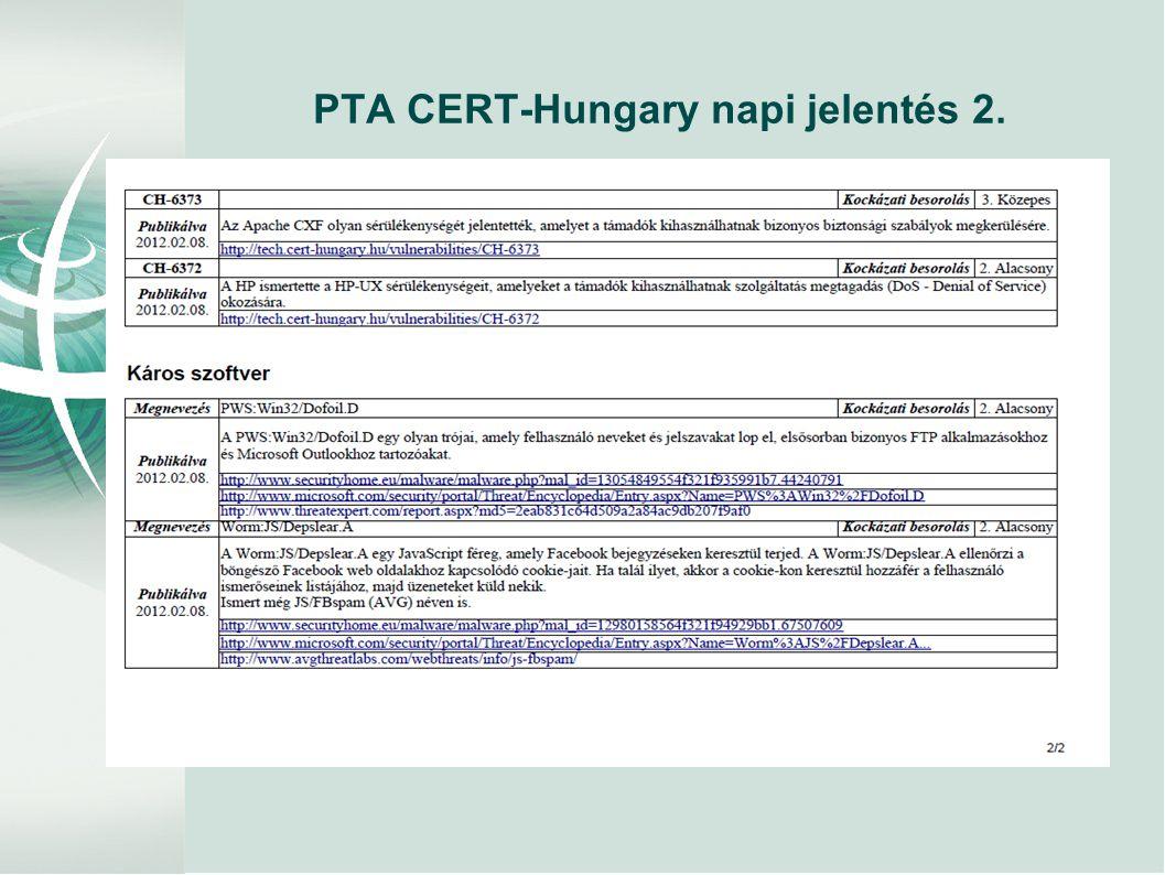 PTA CERT-Hungary napi jelentés 2.