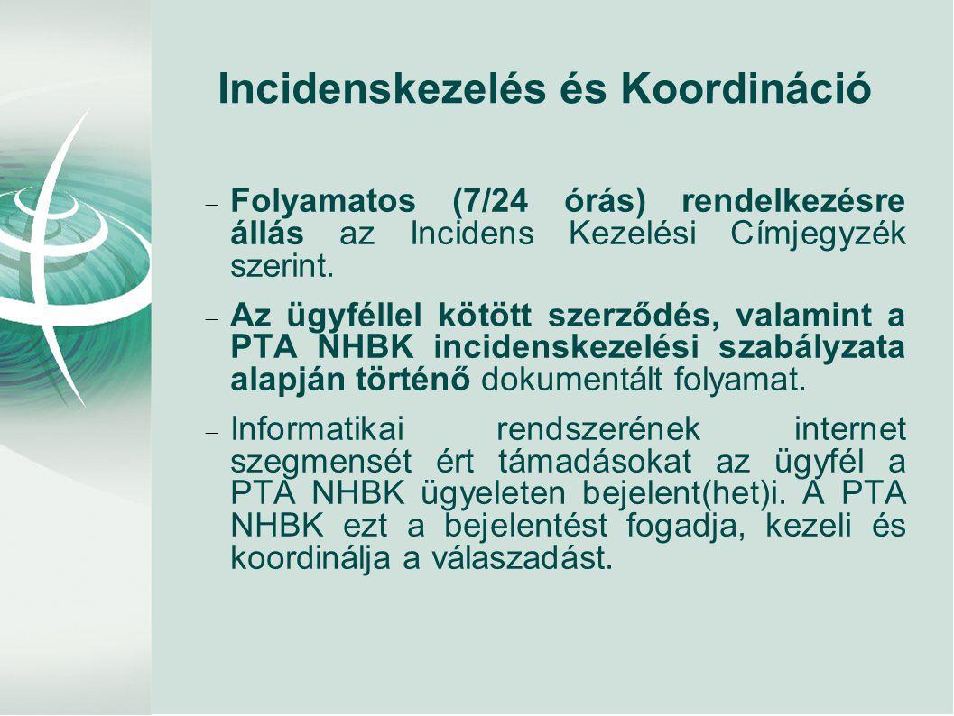 Incidenskezelés és Koordináció  Folyamatos (7/24 órás) rendelkezésre állás az Incidens Kezelési Címjegyzék szerint.