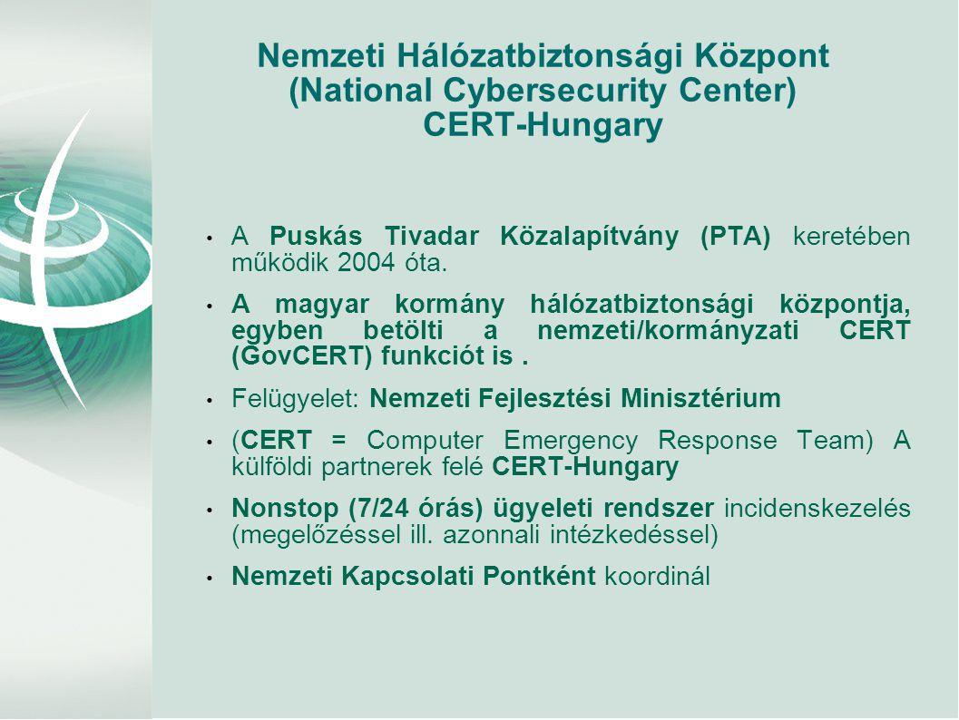Nemzeti Hálózatbiztonsági Központ (National Cybersecurity Center) CERT-Hungary • A Puskás Tivadar Közalapítvány (PTA) keretében működik 2004 óta. • A