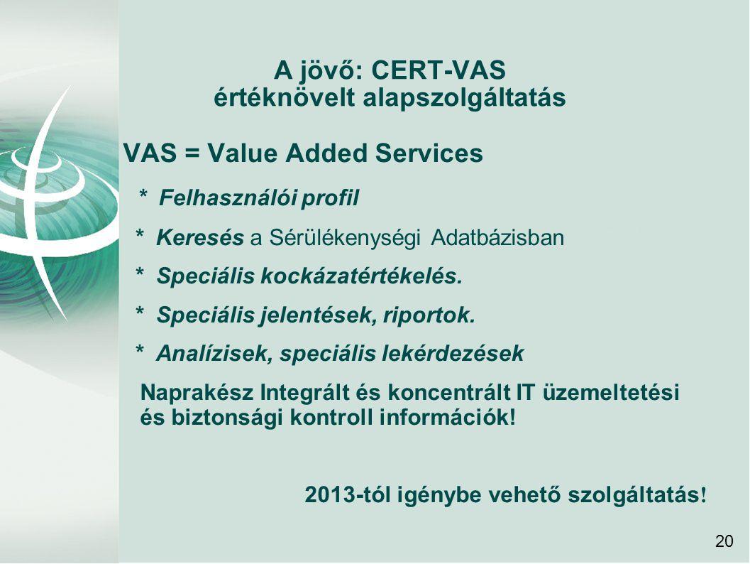 A jövő: CERT-VAS értéknövelt alapszolgáltatás VAS = Value Added Services * Felhasználói profil * Keresés a Sérülékenységi Adatbázisban * Speciális kockázatértékelés.