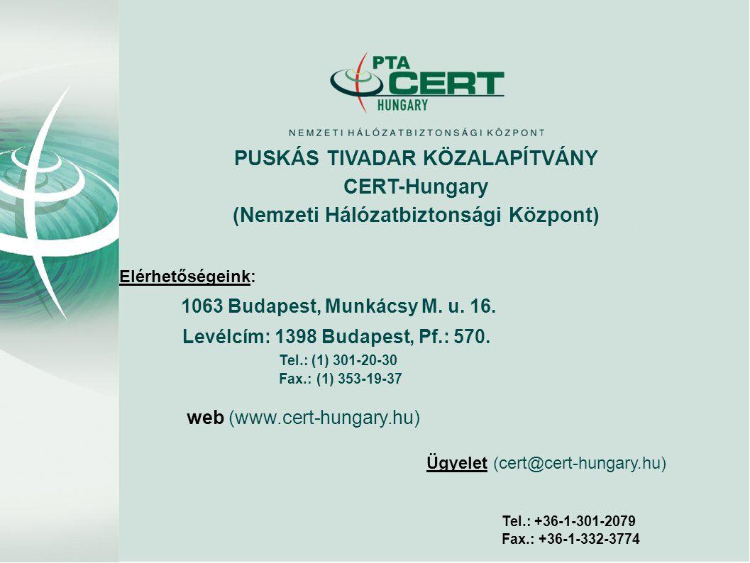 PUSKÁS TIVADAR KÖZALAPÍTVÁNY CERT-Hungary (Nemzeti Hálózatbiztonsági Központ) Elérhetőségeink: 1063 Budapest, Munkácsy M. u. 16. Levélcím: 1398 Budap