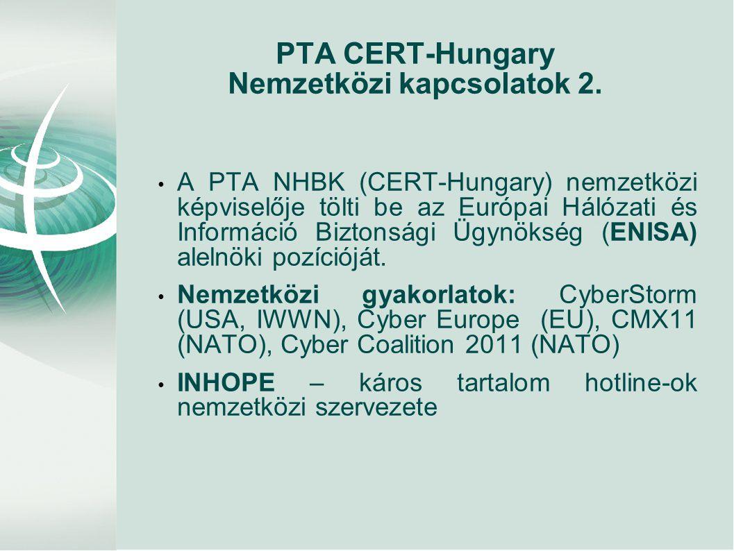 PTA CERT-Hungary Nemzetközi kapcsolatok 2. • A PTA NHBK (CERT-Hungary) nemzetközi képviselője tölti be az Európai Hálózati és Információ Biztonsági Üg