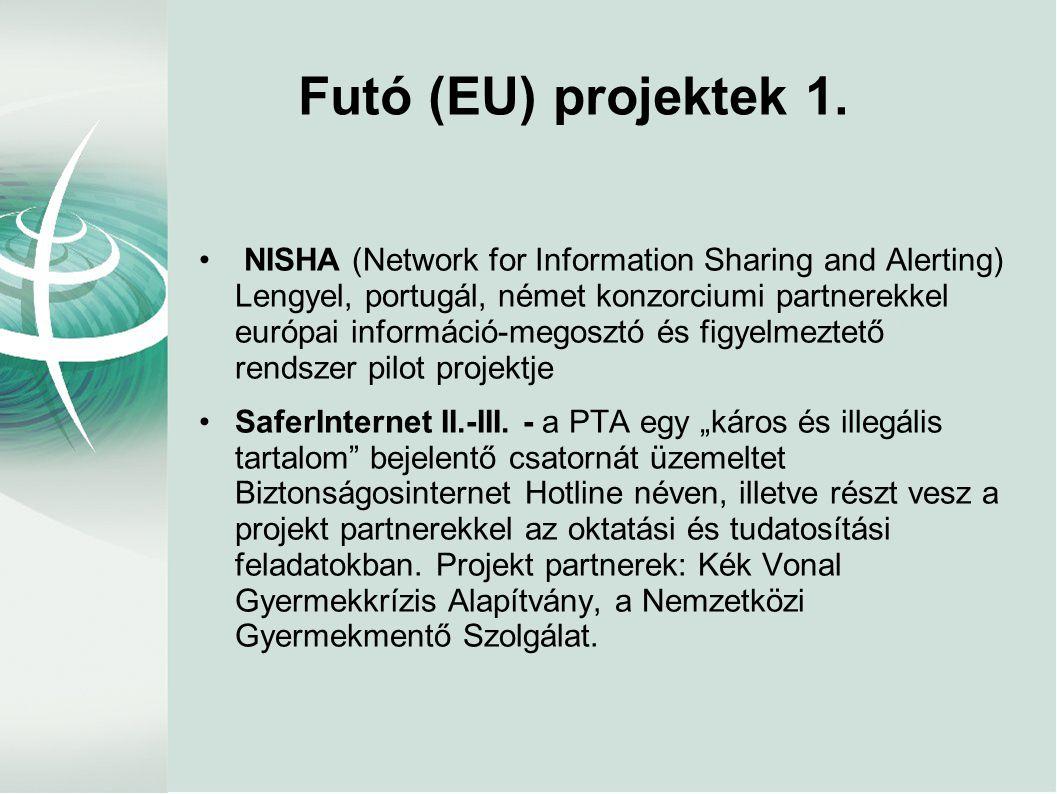 Futó (EU) projektek 1. • NISHA (Network for Information Sharing and Alerting) Lengyel, portugál, német konzorciumi partnerekkel európai információ-meg