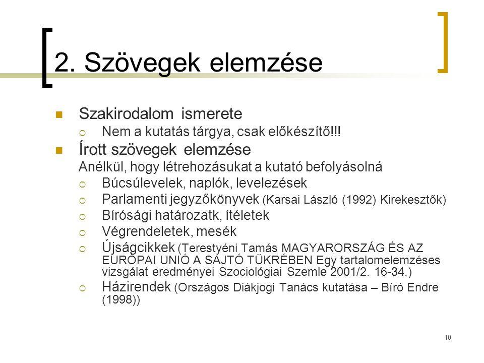 10 2. Szövegek elemzése  Szakirodalom ismerete  Nem a kutatás tárgya, csak előkészítő!!!  Írott szövegek elemzése Anélkül, hogy létrehozásukat a ku