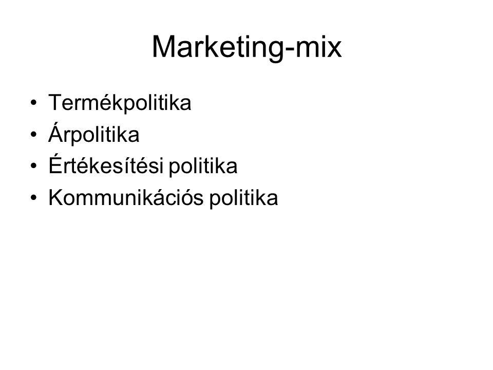 Marketing-mix •Termékpolitika •Árpolitika •Értékesítési politika •Kommunikációs politika