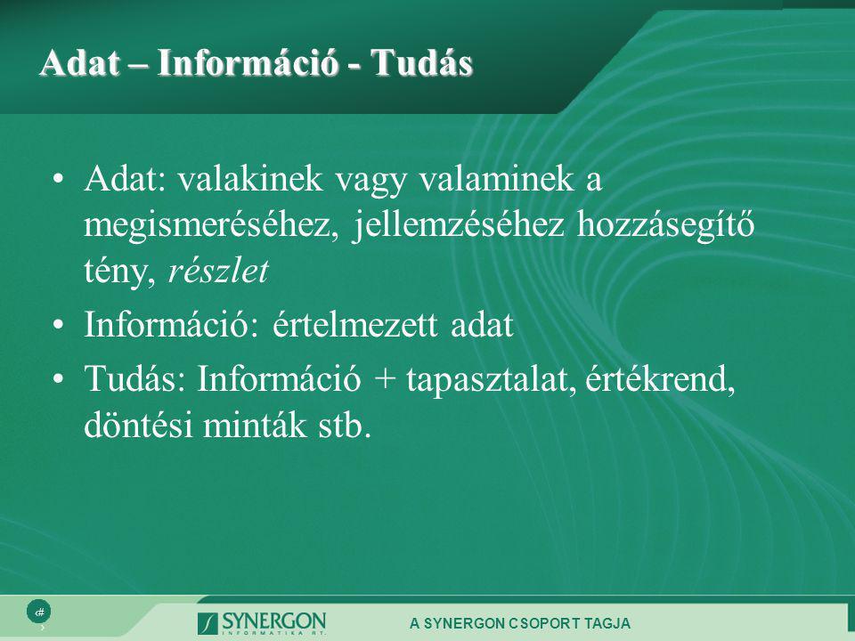 A SYNERGON CSOPORT TAGJA 2 Adat – Információ - Tudás •Adat: valakinek vagy valaminek a megismeréséhez, jellemzéséhez hozzásegítő tény, részlet •Információ: értelmezett adat •Tudás: Információ + tapasztalat, értékrend, döntési minták stb.