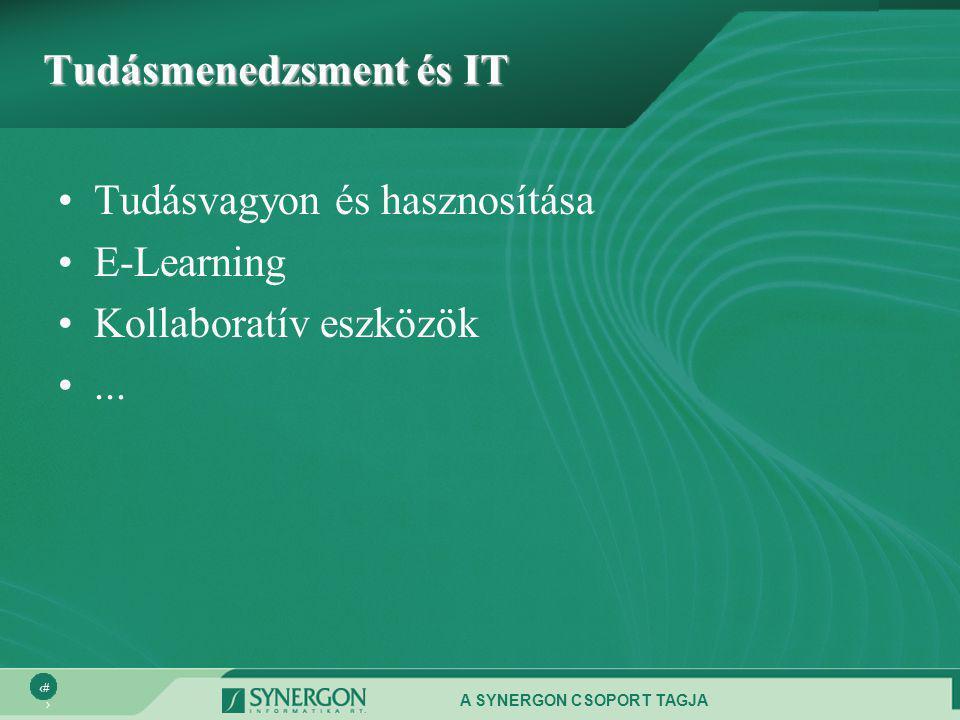 A SYNERGON CSOPORT TAGJA 3 Tudásmenedzsment és IT •Tudásvagyon és hasznosítása •E-Learning •Kollaboratív eszközök •...