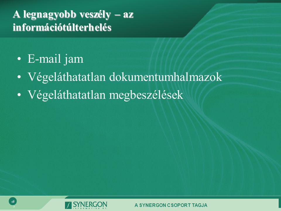 A SYNERGON CSOPORT TAGJA 7 A legnagyobb veszély – az információtúlterhelés •E-mail jam •Végeláthatatlan dokumentumhalmazok •Végeláthatatlan megbeszélések