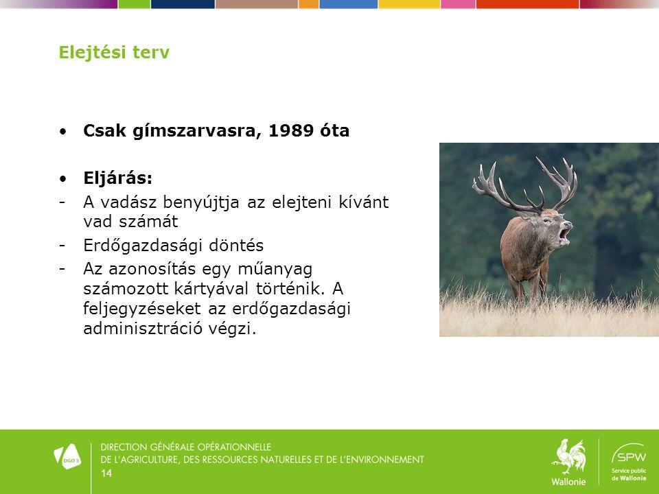 14 Elejtési terv •Csak gímszarvasra, 1989 óta •Eljárás: - A vadász benyújtja az elejteni kívánt vad számát - Erdőgazdasági döntés - Az azonosítás egy
