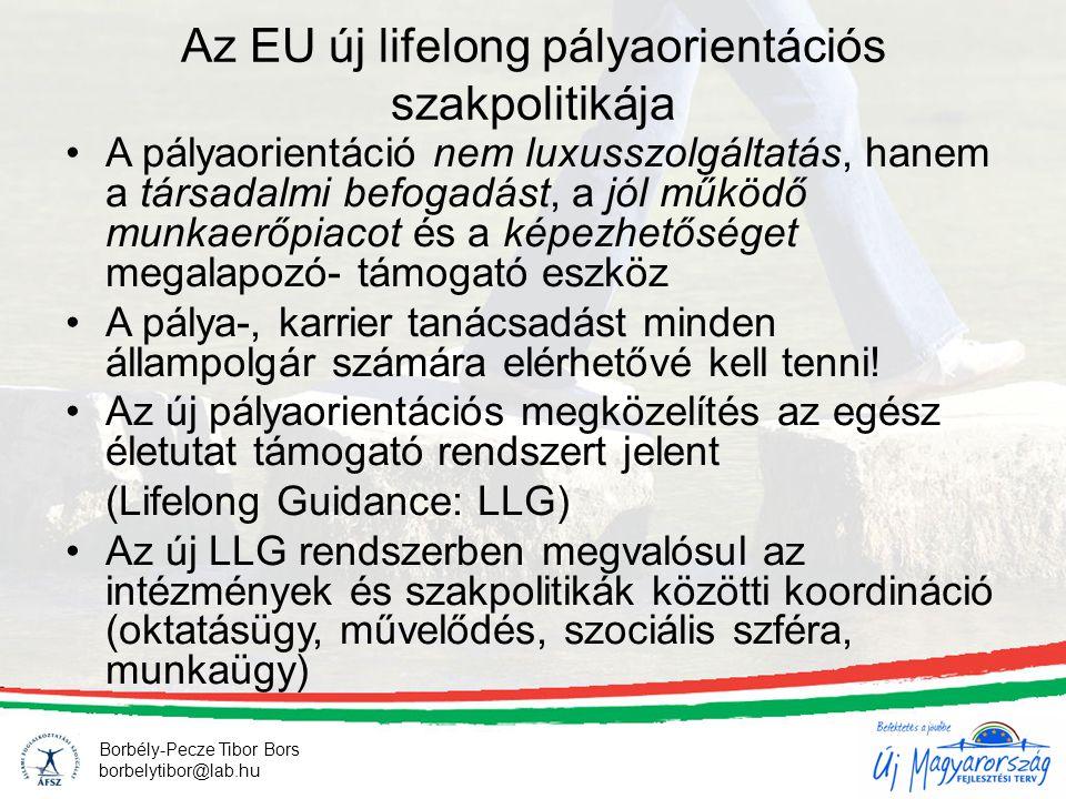 6 Borbély-Pecze Tibor Bors borbelytibor@lab.hu Az EU új lifelong pályaorientációs szakpolitikája •A pályaorientáció nem luxusszolgáltatás, hanem a tár