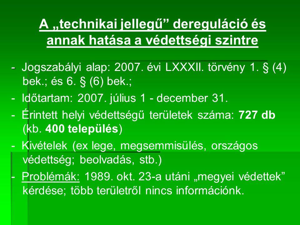 """A """"technikai jellegű"""" dereguláció és annak hatása a védettségi szintre - - Jogszabályi alap: 2007. évi LXXXII. törvény 1. § (4) bek.; és 6. § (6) bek."""