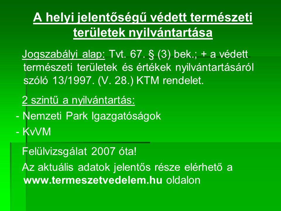 A helyi jelentőségű védett természeti területek nyilvántartása Jogszabályi alap: Tvt. 67. § (3) bek.; + a védett természeti területek és értékek nyilv