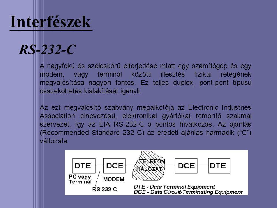 Interfészek RS-232-C A nagyfokú és széleskörű elterjedése miatt egy számítógép és egy modem, vagy terminál közötti illesztés fizikai rétegének megvaló