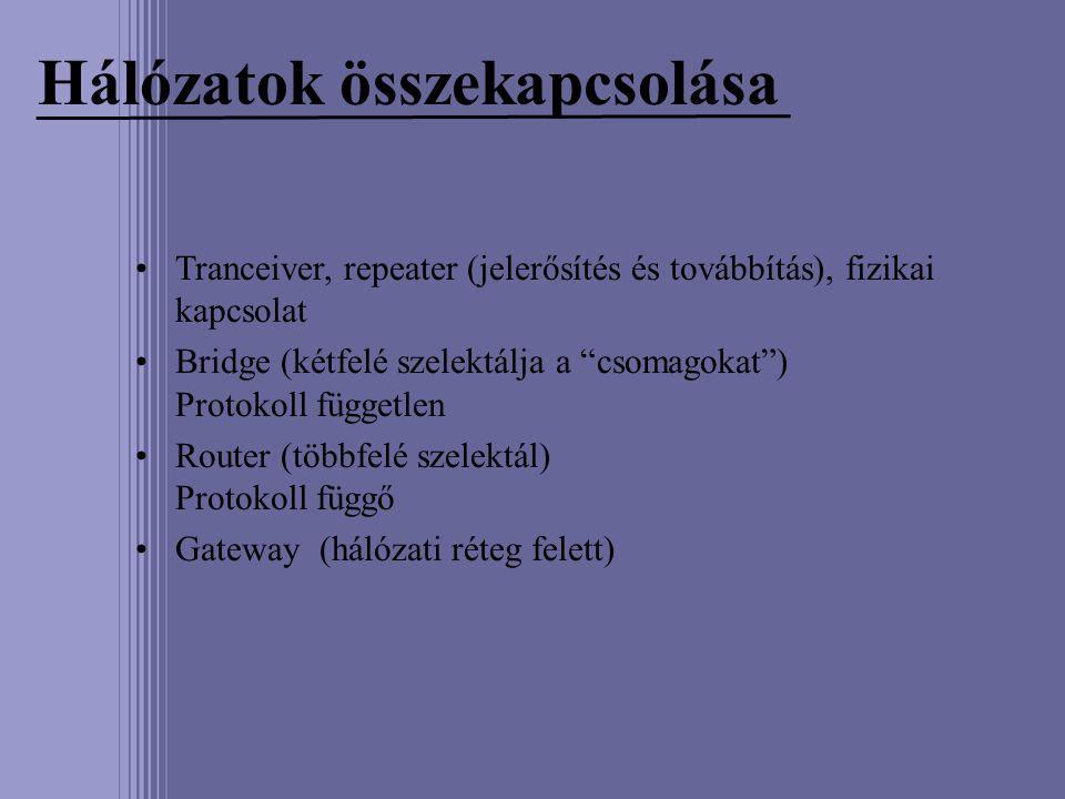 """Hálózatok összekapcsolása •Tranceiver, repeater (jelerősítés és továbbítás), fizikai kapcsolat •Bridge (kétfelé szelektálja a """"csomagokat"""") Protokoll"""