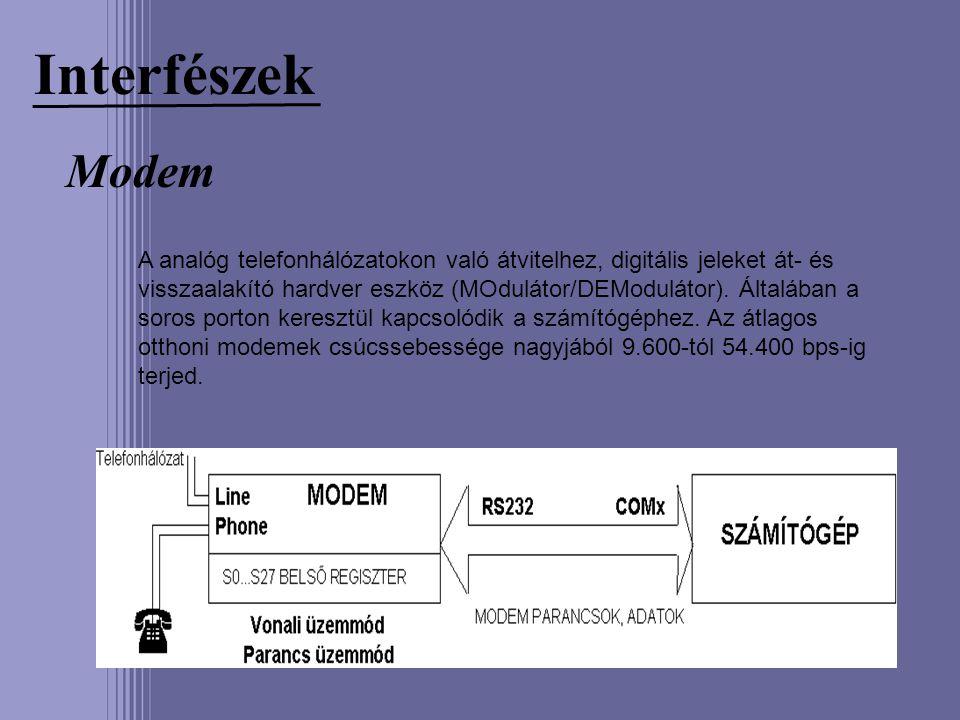 Interfészek Modem A analóg telefonhálózatokon való átvitelhez, digitális jeleket át- és visszaalakító hardver eszköz (MOdulátor/DEModulátor). Általába
