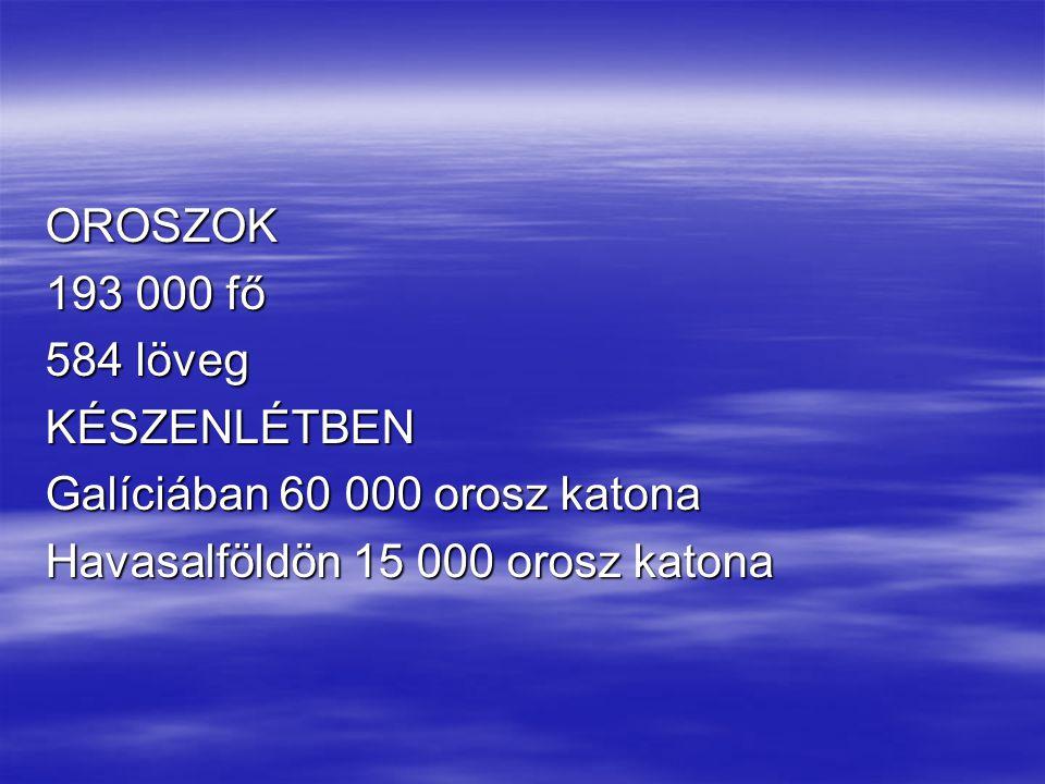 OROSZOK 193 000 fő 584 löveg KÉSZENLÉTBEN Galíciában 60 000 orosz katona Havasalföldön 15 000 orosz katona