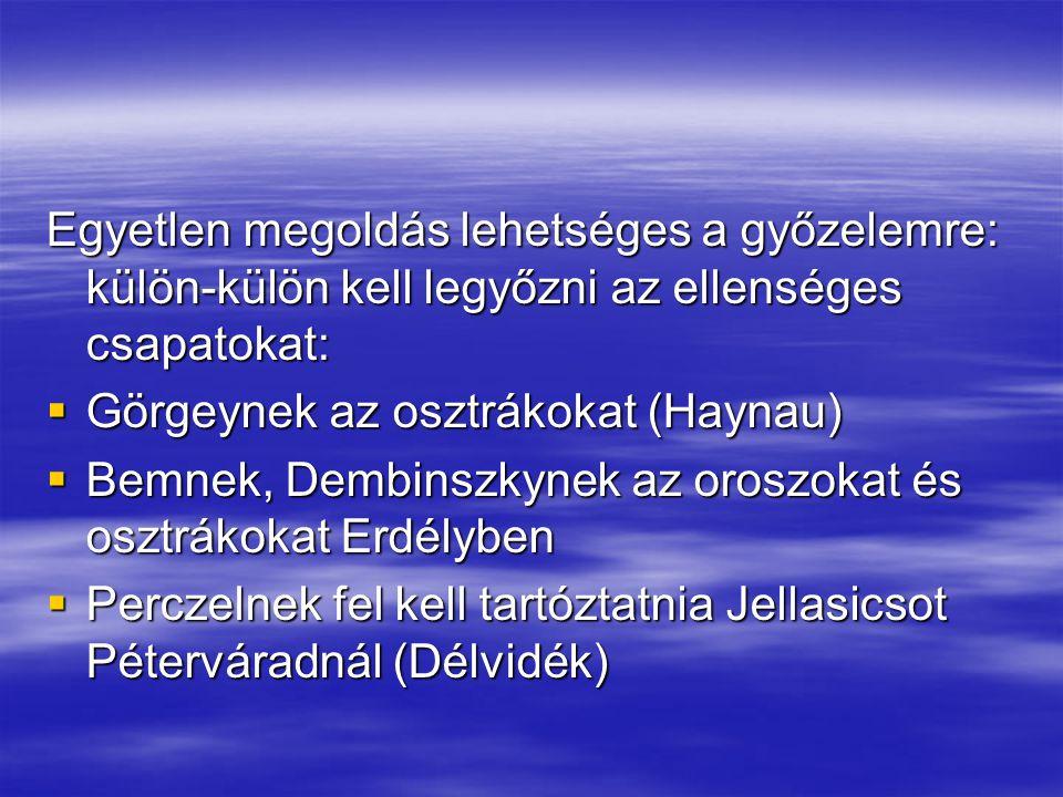 Egyetlen megoldás lehetséges a győzelemre: külön-külön kell legyőzni az ellenséges csapatokat:  Görgeynek az osztrákokat (Haynau)  Bemnek, Dembinszk