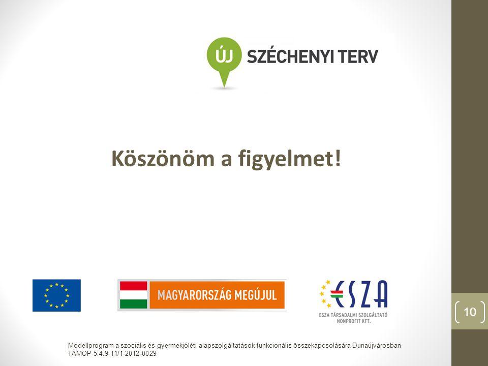 Köszönöm a figyelmet! Modellprogram a szociális és gyermekjóléti alapszolgáltatások funkcionális összekapcsolására Dunaújvárosban TÁMOP-5.4.9-11/1-201
