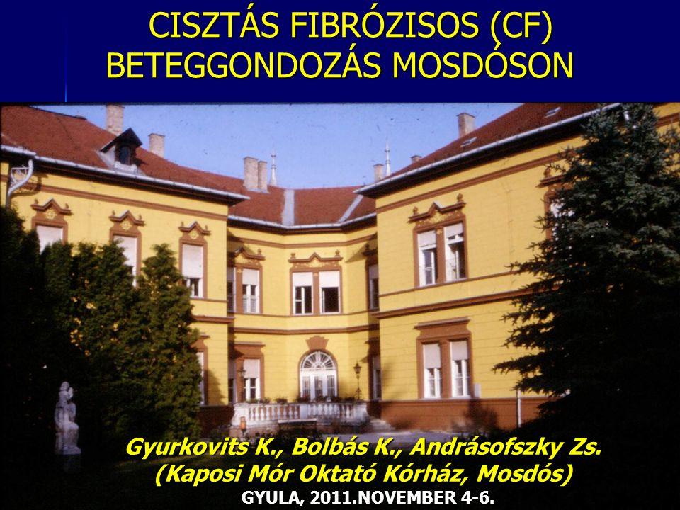 CISZTÁS FIBRÓZISOS (CF) BETEGGONDOZÁS MOSDÓSON CISZTÁS FIBRÓZISOS (CF) BETEGGONDOZÁS MOSDÓSON. Gyurkovits K., Bolbás K., Andrásofszky Zs. (Kaposi Mór