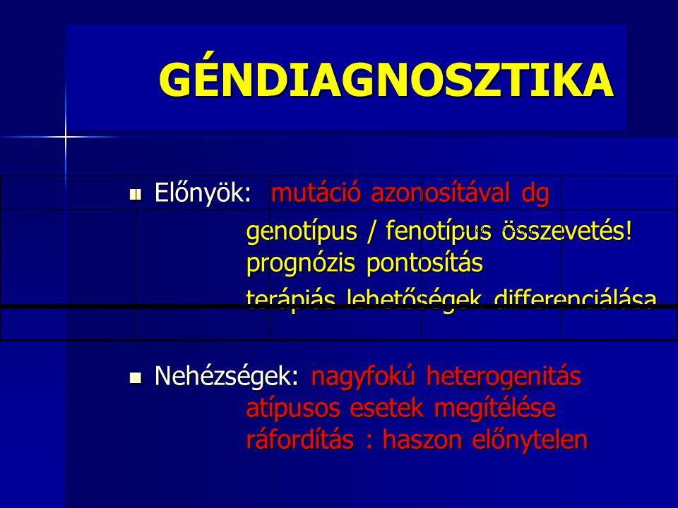 GÉNDIAGNOSZTIKA GÉNDIAGNOSZTIKA  Előnyök: mutáció azonosítával dg genotípus / fenotípus összevetés! prognózis pontosítás genotípus / fenotípus összev
