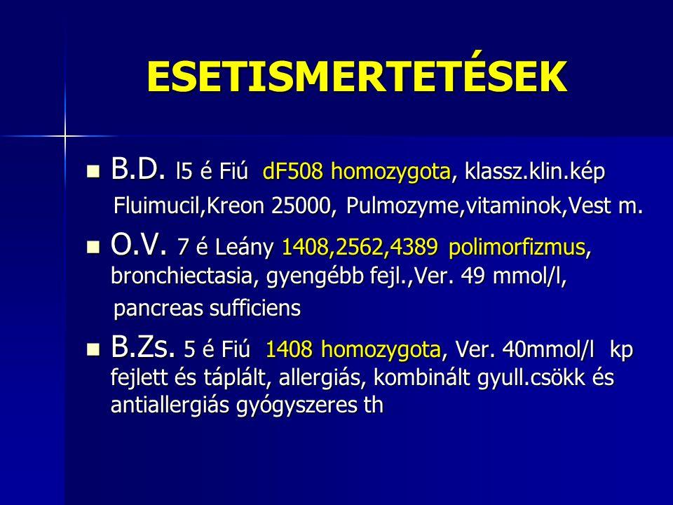 ESETISMERTETÉSEK  B.D. l5 é Fiú dF508 homozygota, klassz.klin.kép Fluimucil,Kreon 25000, Pulmozyme,vitaminok,Vest m. Fluimucil,Kreon 25000, Pulmozyme