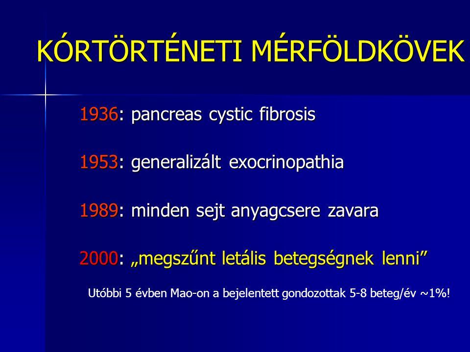 """KÓRTÖRTÉNETI MÉRFÖLDKÖVEK 1936: pancreas cystic fibrosis 1936: pancreas cystic fibrosis 1953: generalizált exocrinopathia 1953: generalizált exocrinopathia 1989: minden sejt anyagcsere zavara 1989: minden sejt anyagcsere zavara 2000: """"megszűnt letális betegségnek lenni 2000: """"megszűnt letális betegségnek lenni Utóbbi 5 évben Mao-on a bejelentett gondozottak 5-8 beteg/év ~1%!"""