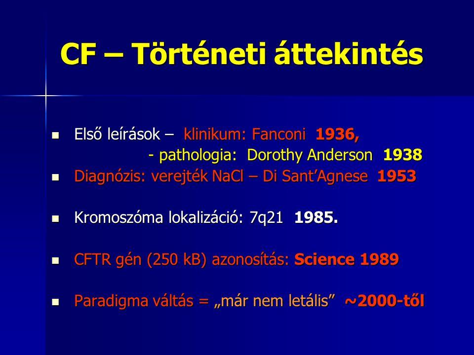 CF – Történeti áttekintés  Első leírások – klinikum: Fanconi 1936, - pathologia: Dorothy Anderson 1938 - pathologia: Dorothy Anderson 1938  Diagnózis: verejték NaCl – Di Sant'Agnese 1953  Kromoszóma lokalizáció: 7q21 1985.