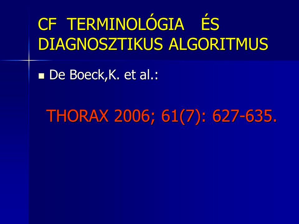 CF TERMINOLÓGIA ÉS DIAGNOSZTIKUS ALGORITMUS  De Boeck,K. et al.: THORAX 2006; 61(7): 627-635. THORAX 2006; 61(7): 627-635.