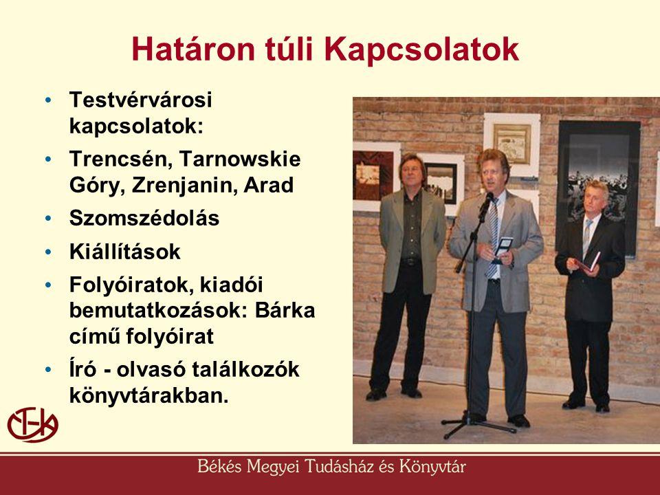 Határon túli Kapcsolatok • Testvérvárosi kapcsolatok: • Trencsén, Tarnowskie Góry, Zrenjanin, Arad • Szomszédolás • Kiállítások • Folyóiratok, kiadói