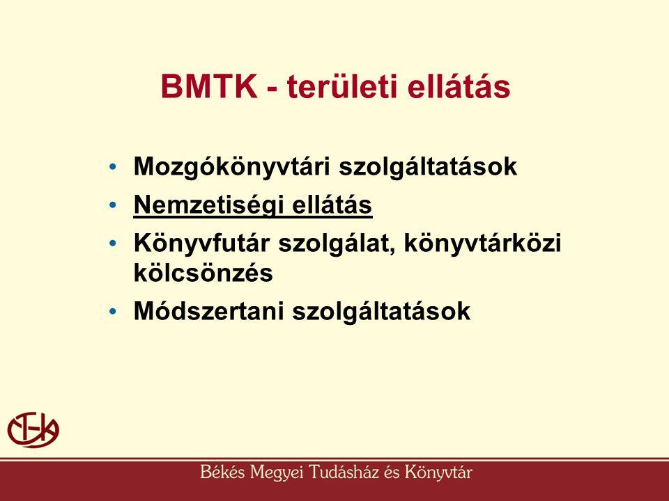 BMTK - területi ellátás • Mozgókönyvtári szolgáltatások • Nemzetiségi ellátás • Könyvfutár szolgálat, könyvtárközi kölcsönzés • Módszertani szolgáltat