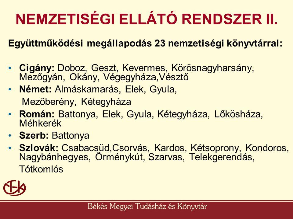 Együttműködési megállapodás 23 nemzetiségi könyvtárral: • Cigány: Doboz, Geszt, Kevermes, Körösnagyharsány, Mezőgyán, Okány, Végegyháza,Vésztő • Német