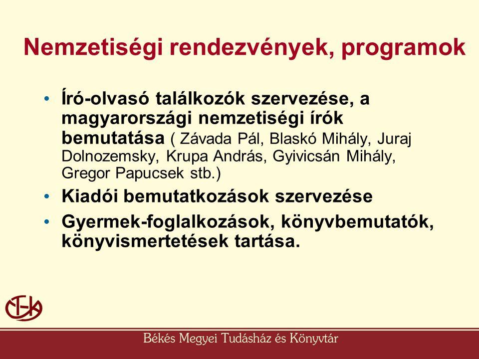 Nemzetiségi rendezvények, programok • Író-olvasó találkozók szervezése, a magyarországi nemzetiségi írók bemutatása ( Závada Pál, Blaskó Mihály, Juraj