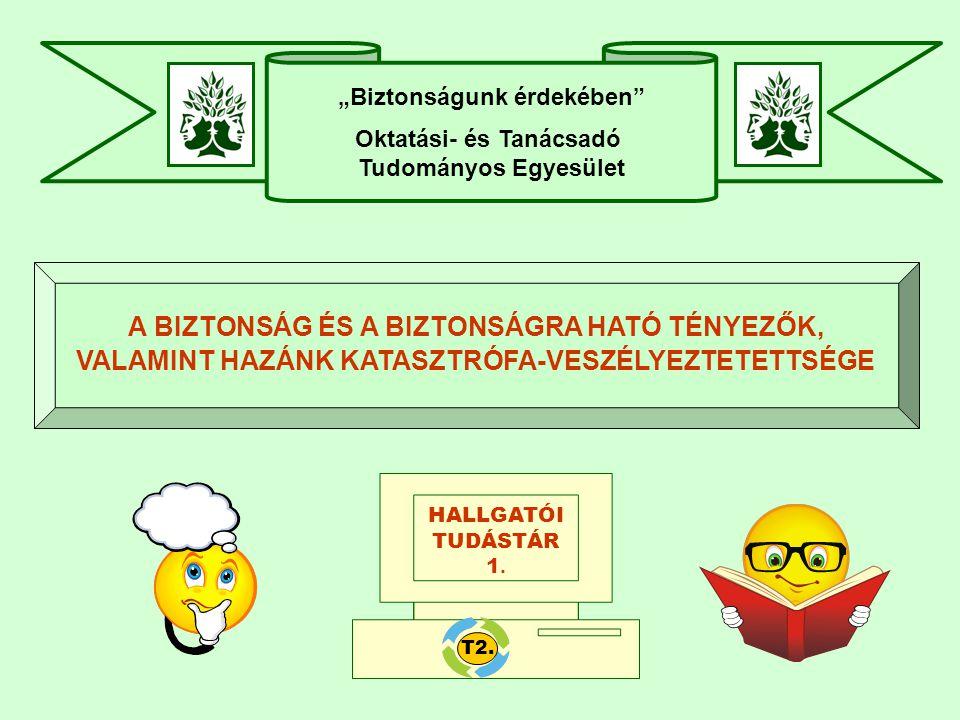 """""""Biztonságunk érdekében Oktatási- és Tanácsadó Tudományos Egyesület A BIZTONSÁG ÉS A BIZTONSÁGRA HATÓ TÉNYEZŐK, VALAMINT HAZÁNK KATASZTRÓFA-VESZÉLYEZTETETTSÉGE HALLGATÓI TUDÁSTÁR 1."""