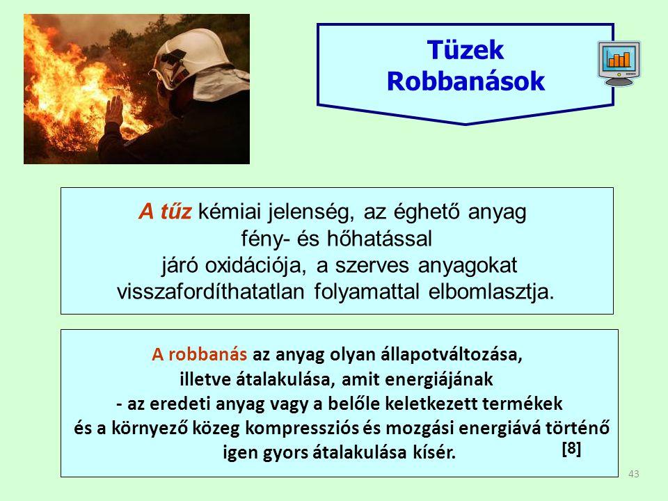 43 Tüzek Robbanások A tűz kémiai jelenség, az éghető anyag fény- és hőhatással járó oxidációja, a szerves anyagokat visszafordíthatatlan folyamattal elbomlasztja.