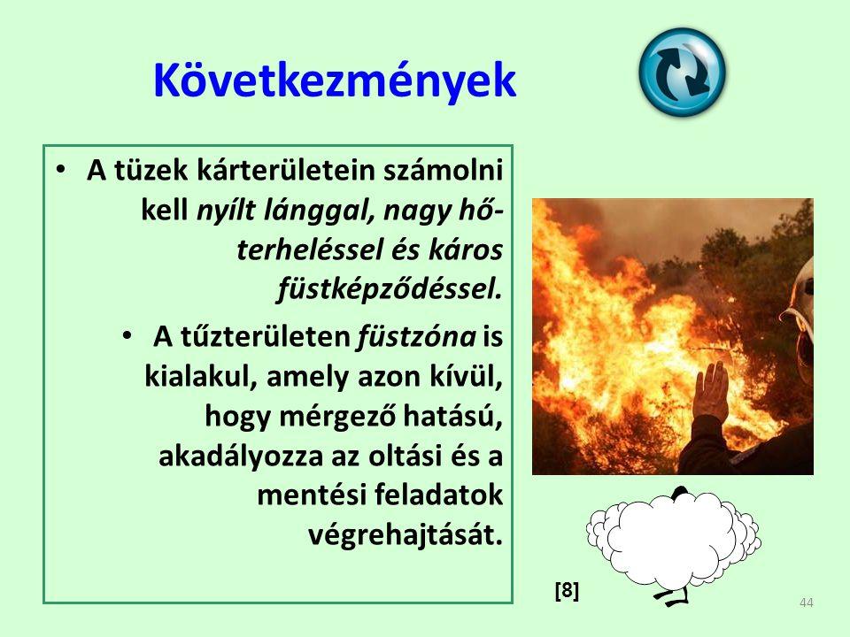 44 Következmények • A tüzek kárterületein számolni kell nyílt lánggal, nagy hő- terheléssel és káros füstképződéssel.