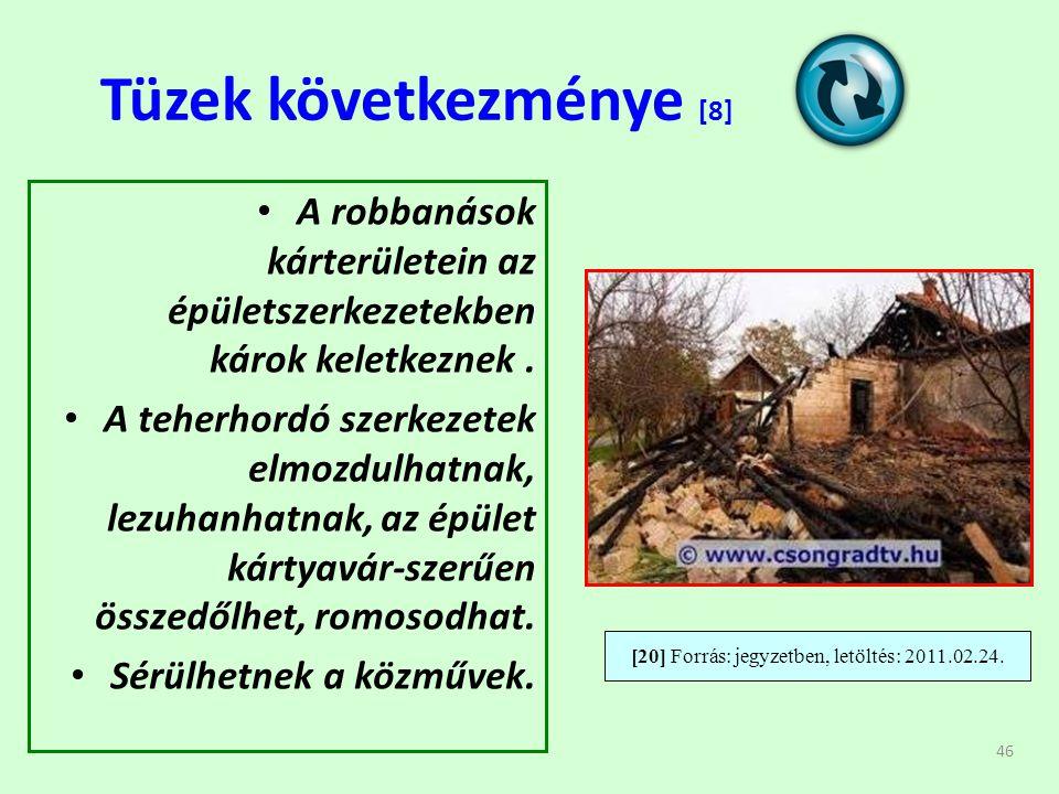 46 Tüzek következménye [8] • A robbanások kárterületein az épületszerkezetekben károk keletkeznek.