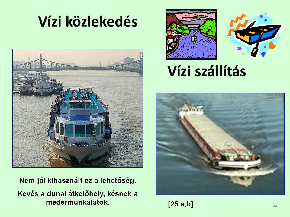 52 Vízi közlekedés Vízi szállítás Nem jól kihasznált ez a lehetőség.