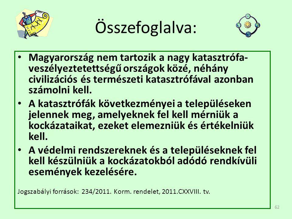 62 Összefoglalva: • Magyarország nem tartozik a nagy katasztrófa- veszélyeztetettségű országok közé, néhány civilizációs és természeti katasztrófával azonban számolni kell.