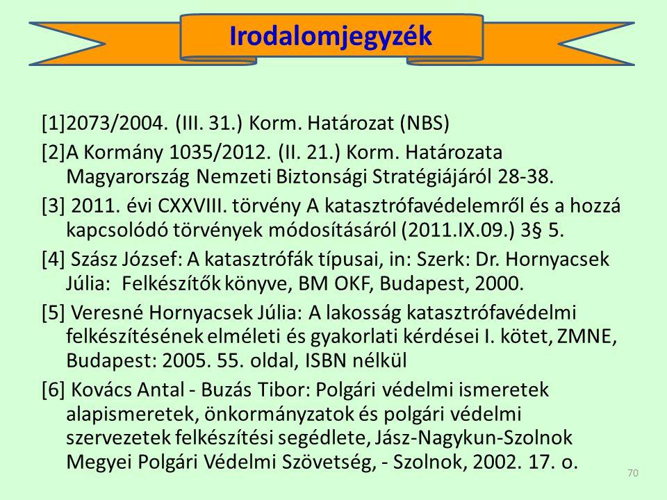 70 [1]2073/2004.(III. 31.) Korm. Határozat (NBS) [2]A Kormány 1035/2012.