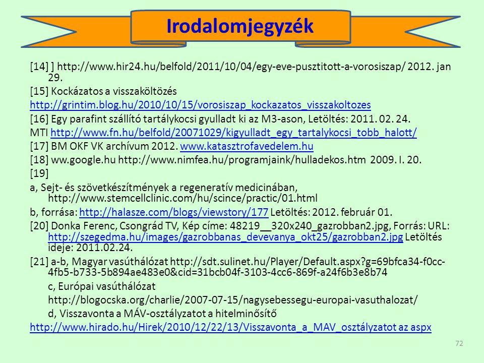 72 [14] ] http://www.hir24.hu/belfold/2011/10/04/egy-eve-pusztitott-a-vorosiszap/ 2012.