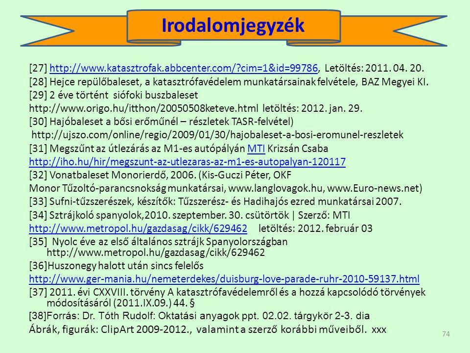 74 [27] http://www.katasztrofak.abbcenter.com/?cim=1&id=99786, Letöltés: 2011.