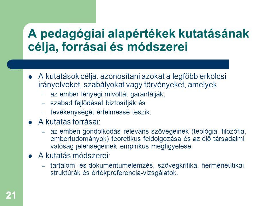 21 A pedagógiai alapértékek kutatásának célja, forrásai és módszerei  A kutatások célja: azonosítani azokat a legfőbb erkölcsi irányelveket, szabályo