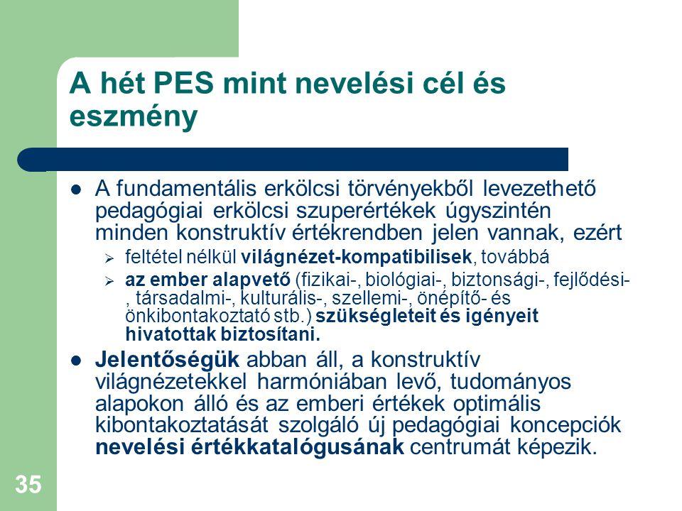 35 A hét PES mint nevelési cél és eszmény  A fundamentális erkölcsi törvényekből levezethető pedagógiai erkölcsi szuperértékek úgyszintén minden kons