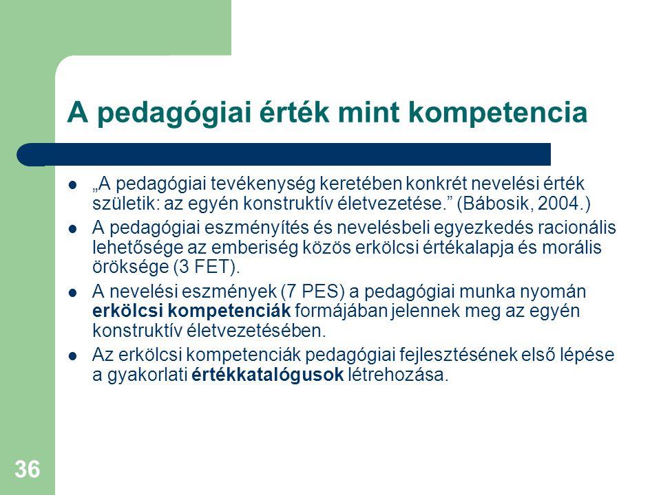"""36 A pedagógiai érték mint kompetencia  """"A pedagógiai tevékenység keretében konkrét nevelési érték születik: az egyén konstruktív életvezetése."""" (Báb"""